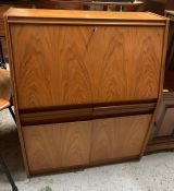 A Remploy Mid Century teak bureau AF (H114cm W92cm D40cm)