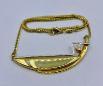 A gold necklace and pendant marked 585 (Total weight 7g)