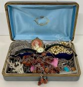 A selection of costume jewellery and some silver jewellery