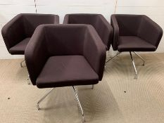 Four Mid Century, chrome legged dining chairs in brown