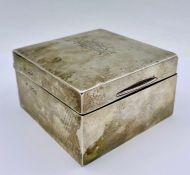 A silver cigarette box, hallmarked London 1899, makers mark FH, possibly Francis Higgins II