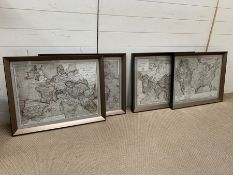 A set of four antique style prints of maps