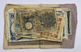 A selection of various International and UK bank notes