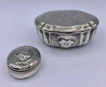 Two silver lidded pots