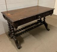A library table with rectangular top, each end with two barley twist supports united by twin