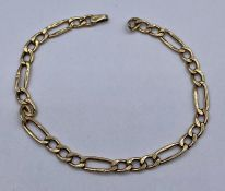 A 9ct yellow gold bracelet 1.3g total weight
