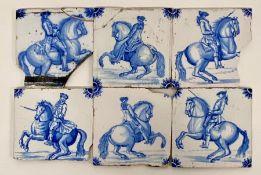 Five Delft style tiles