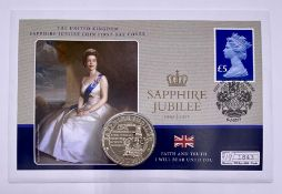 The United Kingdom Sapphire Jubilee Coin First Day Cover