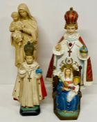 A selection of four religious themed statues