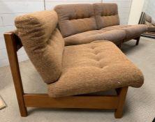 A set of three Mid Century teak frame modular chairs/sofa (H70cm W70cm D80cm)