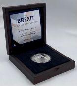 The Brexit Silver 1oz commemorative in original box.