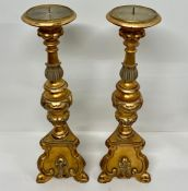 A Pair of heavy contemporary candlesticks