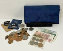 A selection of United Kingdom coinage and banknotes to include crowns, pennies and presentation