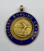 A 9ct gold with enamel 1927 Fattorini & Sons Leyland Bowling League Runners Up Medal (Total Weight