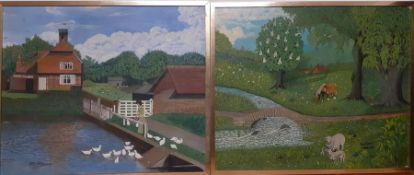 A pair of oil on board, signed: 'A.Slater' and dated 1968 and1976, framed, (50x60 cm). (2)