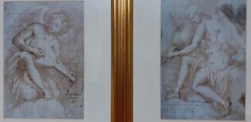 A pair of prints depicting angels playing instruments, framed and glazed, (33x23 cm). (2)