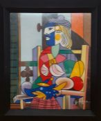 """A copy of Pablo Picasso's """"Seated Portrait of Marie-Therese Walter"""" (1937), illegibly signed ("""