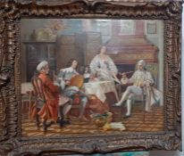 'A little concert', oil on canvas, signed (or titled): 'Minue', within a carved 18th century style