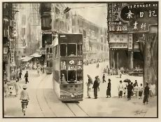 """A Pair of Chinese washed inks depicting Hong Kong city scenes, """"Queen's Road"""" and """"The Wanchai"""