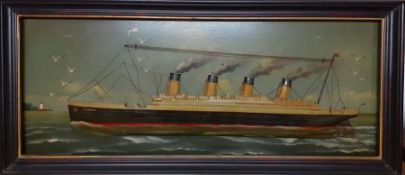 """A large plaque by Country Corner depicting the """"TITANIC"""" in relief with hand painted detail, label"""