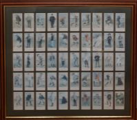 A full set of Cope's Tobacco Golfers card reproductions, framed and glazed, (45x51 cm with frame).