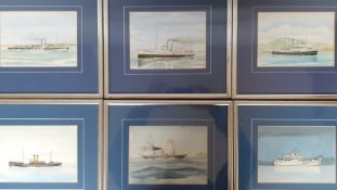 A set of 7 watercolours depicting boats, signed: 'Joe M. Browning', framed and glazed, (14.5x19.5