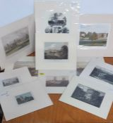 A group of 11 mounted prints depicting English landscapes with arquitecture, (16x20 cm largest). (