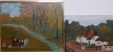 A pair of oils, signed: 'A.Slater' and 'Beryl' dated 1977, (40x50 cm largest). (2)