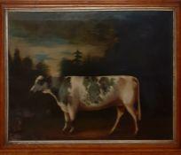An antique 19th Century Prize Cow portrait in a landscape, label verso 'John E. Ledbetter Ldt,