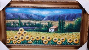 Continental school 21st century, 'Sunflower field', illegibly signed, oil on canvas, within an