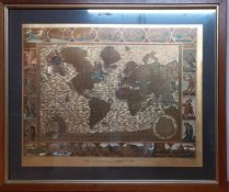A gilded print world map from an original engraving by Moses Pitt in 1681, framed and glazed, (41x52