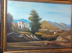 Continental school 20th century, 'Italianate landscape', unsigned, oil on canvas, framed (100x150