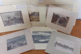 A group of 7 mounted prints depicting English landscapes, (14x22 cm largest). (7)