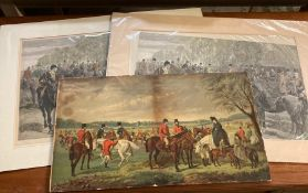 """A pair of prints depicting """"A meet of the royal staghounds at Ascot"""", probably published by The"""