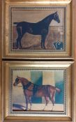 A pair of oliograph depicting horses in a stable interior, gilded framed, (20x25.5 cm). (2)
