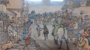 """A pair of prints after Cecil Aldin from the famous racing series """"The Bluemarket Races"""", framed"""