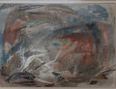 Nora Spicer Unwin (1907-1982) British, 'Composition', signed and dated 1965, mixed media, framed and