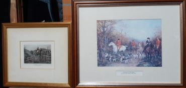 """A pair of prints, """"A good lead"""" and """"Through the copse"""", framed and glazed (16x22 cm largest). (2)"""