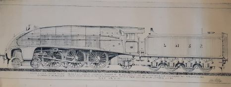 A pair of prints depicting 2 LNER locomotive blueprints, (103x41.5 cm). (2)