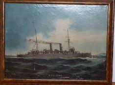 """The battleship """"HMS Astrea"""", oil on canvas, framed, (43x59 cm)."""