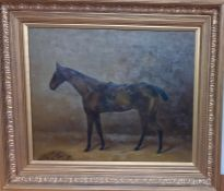 A horse in a stable interior, signed: 'A.Fleming', oil on canvas, within an elaborate frame, (