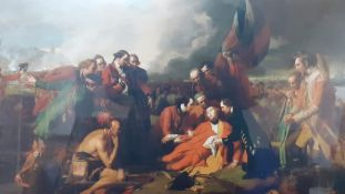 """""""The Death of General Wolfe"""" after Benjamin West and another framed print of """"Battle of the Plains"""