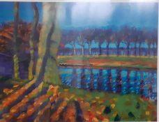 After Sara Hayward, 'River landscape', framed and glazed, (30x40 cm).