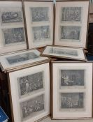 """Full set of """"The Idle 'Prentice Executed at Tyburn"""" etchings after William Hogarth, 12 plates framed"""