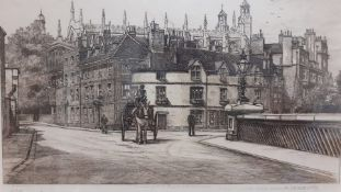 """Edward Burrow, """"Eton College from Barnes Bridge"""", and etching signed in pencil by the artist,"""
