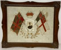 WWI Period embroidered flags and crown with picture of Admiral Sir John Jellicoe