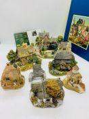 A selection of seven Lilliput Lane Cottages, Little Bee, Jamaica Inn, Cruckend, Bridge House, Full