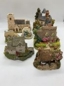 A selection of seven Lilliput Lane Cottages, The Old Forge, Cotman Cottage, The Gables, Petticoat