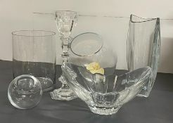 A selection of glass vases and candle holders