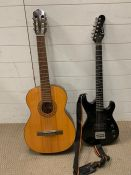 Two guitars, one electric Encore and one Musima Classical